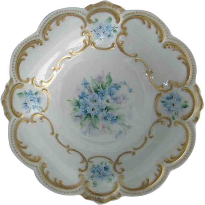 Geraldine Rarick Hand Painted Forget Me Not Bowl