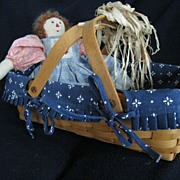 SALE Longaberger Basket with Hand Made Doll, 1995