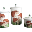 Hand Painted Pottery Canister Set, 1975