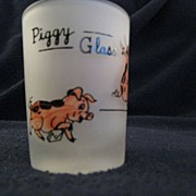SOLD Piggy Glass Hand Painted Shot Glass