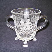 SALE Etched Cut Crystal Hors D'Oeuvre Toothpick Holder
