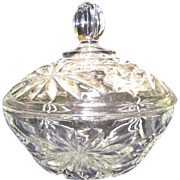 Early American Prescut Clear Glass Covered Candy Dish, ca. 1960
