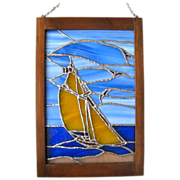 Vintage Stained Glass Sailboat Window Art