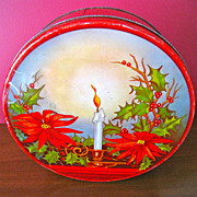 Large Red Vintage Poinsettia Christmas Tin