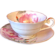 Merit Occupied Japan Hand Painted Rose Cup and Saucer