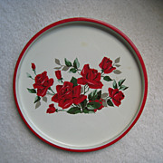 Vintage Red Rose Tin Tray