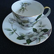 SALE Meito Occupied Japan Dogwood Demitasse Cup and Saucer