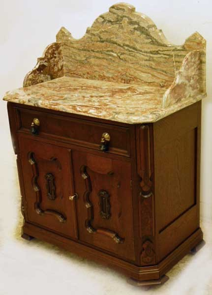 Walnut Victorian Marble Top Washstand