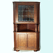 Leaded Glass Oak Corner Cupboard