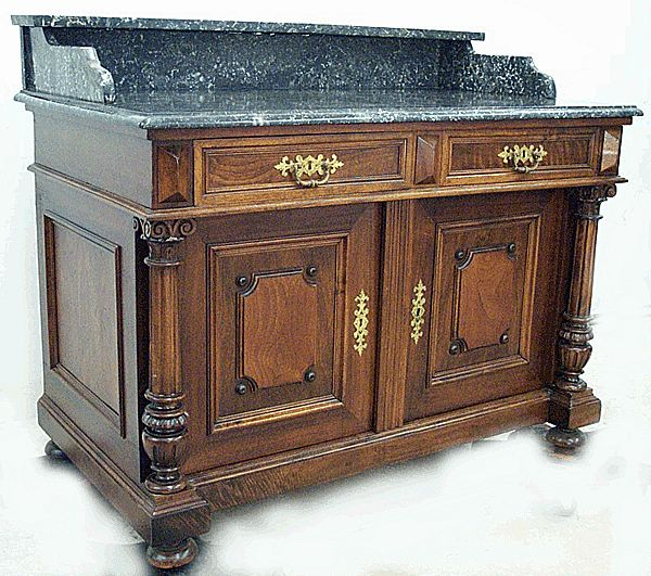 Black Marble Top Commode