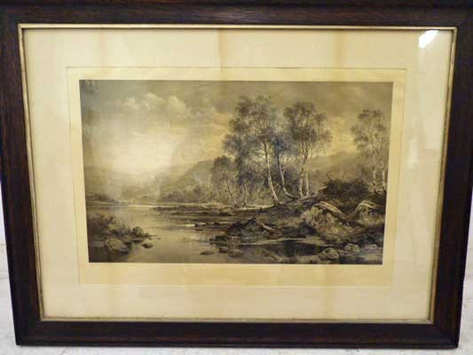 "BW Leader Etching ""The Valley of the Llugwy""  1883"