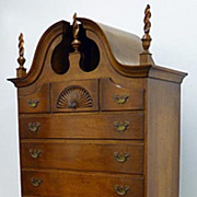 Tiger Maple Queen Anne Style Chest on Chest