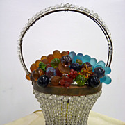 Czechoslovakian Glass Fruit Basket Lamp