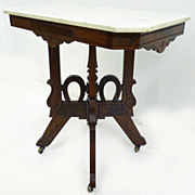 Walnut Marble Top Stand with Horseshoe Motif