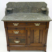 Walnut Washstand with Grey Marble