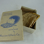 Vintage Whiting and Davis Gold Mesh Bag in Original Box