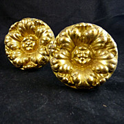 Pair of Victorian Gilt Brass Curtain Tiebacks