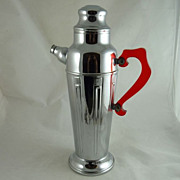Art Deco Style Chrome and Bakelite Cocktail Shaker