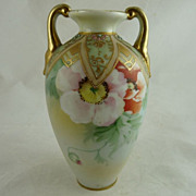 Nippon Porcelain Two Handled Vase Hand Painted Poppies