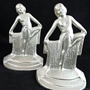 Art Deco Cast Iron Bookends Nude Figure Tapestry Dancer