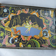 Art Deco Serving Tray Pierrot Clowns and Butterflies