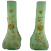 Pair of Victorian Satin Glass Mantle Vases with Gold Decoration
