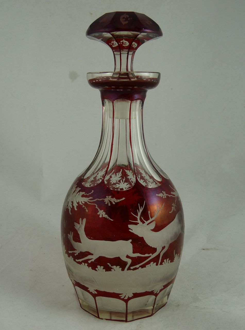 Bohemian Ruby Cut to Clear Decanter with Deer Woodland Scene