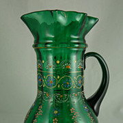 Victorian Enamel Decorated Blown Glass Pitcher Ruffled Rim