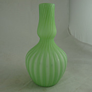 Victorian Green Cut Velvet Ribbed Bottle Vase