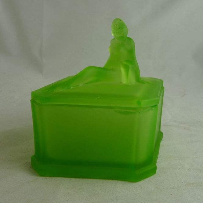 Art Deco Powder Jar Godiva Green Satin Glass