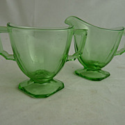 Green Depression Glass Sugar Open Creamer Fostoria Mayfair