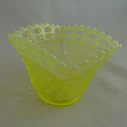 Vintage Fenton Open Weave Vaseline Glass Candy Dish