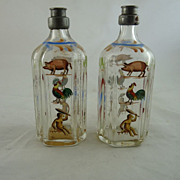 Pair Antique Stiegel Type Bottles Enamel Decorated Pewter Caps