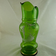 Victorian Blown Glass Mary Gregory Pitcher