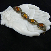 Ornate Czech Amber Glass and Brass Filigree Bracelet