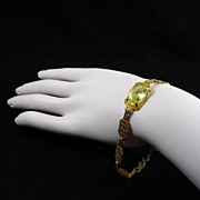 Delicate Art Deco Filigree Czech Glass Bracelet