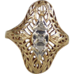 Art Deco Filigree Ring 10K Yellow Gold and Diamonds