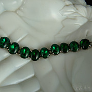 Vintage Bracelet of Green Glass Cabochons in Closed Settings