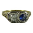 Art Deco 14K White and Yellow Gold Diamond and Sapphire Ring