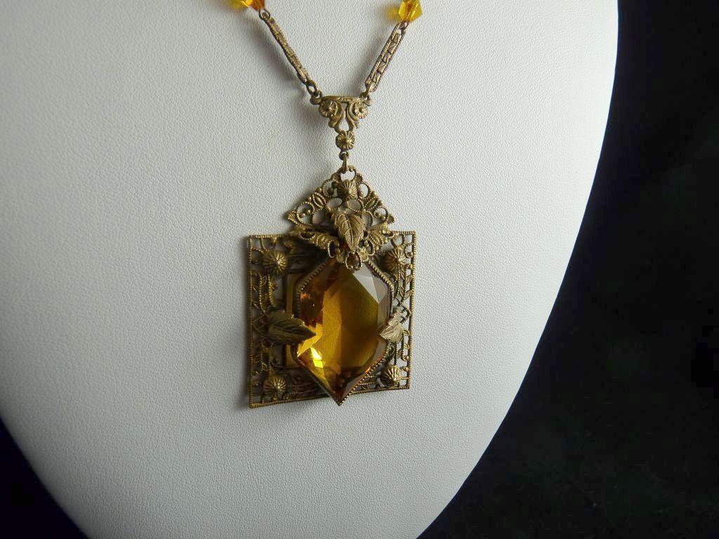 Ornate Art Deco Brass Filigree Czech Glass Pendant Necklace