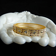 Art Deco Celluloid and Rhinestone Bangle Bracelet