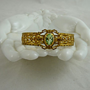 Art Deco Filigree Bracelet Peridot Green Glass Stone