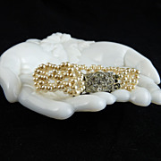 Vintage Woven Faux Pearl Bracelet