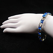Art Deco Sterling Silver and Blue Glass Bracelet