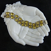 Art Deco Citrine Glass Double Row Bracelet Open Back Stones