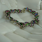 Vintage Rainbow Glass Bracelet Open Back Settings