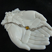 Art Deco Sterling Filigree Bracelet with Citrine Glass Stone