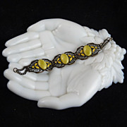 Art Deco Brass Filigree Bracelet with Yellow Enamel and Glass