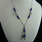 Art Deco Drop Necklace with Faux Lapis and Open Back Crystals