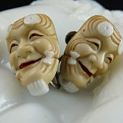 Japanese Toshikane Noh Mask Porcelain Earrings